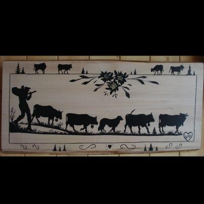 Poya savoie savoyard peinture cr ation sur bois - Peinture bois sur fer ...